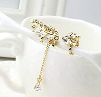 Wholesale Korean Fashion Silver Gold Clear Rhinestone Crystal Leaves Tassels Ear Cuff No Pierced Clip Earrings