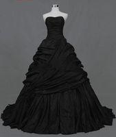 victorian dress - 2015 new design black taffeta A line Strapless Actual Images Pleated Ruffle Taffeta Floor Length gothic victorian black Wedding Dresses
