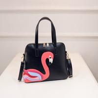 Wholesale 3 Colors Women Shoulder Bags Flamingos Shell Bag Low Price Bolsa De Praia Double Straps Large SizeCausal Tote Bags Zipper Bird Appliques