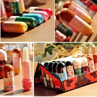 Wholesale Random Color Cute Doll Style Womans Lasting Moisture Lip Balm Cream Lipstick Lip Gloss Hot