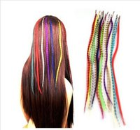 Wholesale Set Colors Grizzly Feather Hair Extensions Beads AE01086