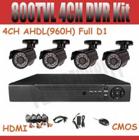 Wholesale 4CH AHDL H Full D1 DVR Kit CCTV System DVR NVR HVR in CCTV Camera tvl CMOS Outdoor camer IR CUT HDMI support Mobile Phone View