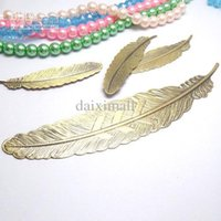 Wholesale 50pcs Gold Plated Brass Metal mm Feather shaped Flat Pad Jewelry Decoration Blank Base DIY Jewelry Findings and Settings