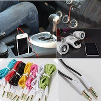 Wholesale 3 mm Noodle AUX audio cables male to male Stereo Car Extension audio Cable for Samsung Glaxy S4 S5 Note Universal