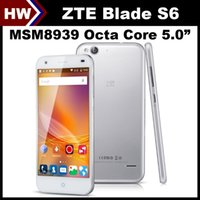 Cheap Leather Octa Core Phone ZTE Blade S6 Smartphone Best For Samsung For Christmas Smartphone MSM8939 Android 5.0