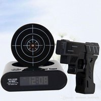 Wholesale Novelty gadget Infrared Laser Target Gun Shooting Alarm Clock Digital With Red LED backlight Cool Gadget Toy