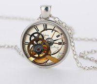best stack - 2015 Hot Selling Clock Watch Stacking Glass Cabochon Pendant Steampunk Necklaces Jewelry Best Price CN792