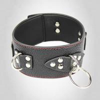 bondage neck wrist restraint - Black PU Leather Collar Bondage Device Restraints Belt Gear Sex Slave Role playing Sex Toy bondage neck collar