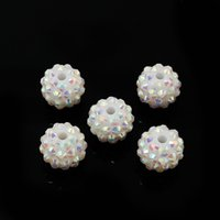 Wholesale 14mm Round Chunky Resin Rhinestone Beads White AB Bling Ball Beads for Jewelry Making DH BSB002