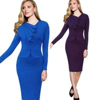 career wear - New Women Round Neck Dress Career Office Party Wear To Work Pinup Shift Bodycon Dresses DH04