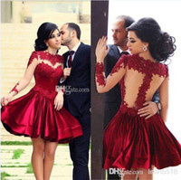 Reference Images red ball gown wedding dress - 2015 Perfect Illusion Neckine Bride Ball Gowns Prom Dresses Red Bodice High Collar With Sheer Long Sleeves Short Mini Wedding Party Dresses