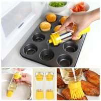 Wholesale Silicone Honey Oil Bottle with Brush for Barbecue Cooking Baking Pancake BBQ Tools barbacoa churrasco Kitchen Accessories