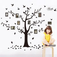 Wholesale New Design Removable Wall Décor Decorative Painting Supplies Wall Stickers Wall Decals Trees Photo Frame Butterfly Birds Wall Treatme Black