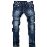 big ads - Fashion Designer AD Brand Jeans Men Straight Dark Blue Printed Mens Jeans Ripped Jeans Big Size Brand Robin Jeans