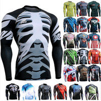 Wholesale Sports Mens Compression Shirts Running Weightlifting GYM Base Layers Skin Tight Full Body Design Skeletons Bodybuilding Tshirts SJ004