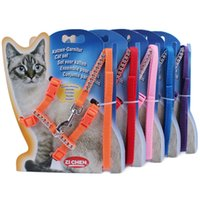 Wholesale Fashion Cats Leashes Adjustable Nylon Harnesses Cat Set Multi Color Cats Leash Supplies