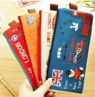 Wholesale 4 Color Fly Over London Girl Boy Oxford Pencil Bags School Supplies Children Stationery Funky Korean Fashion Students Pencil Cases Bag K2954