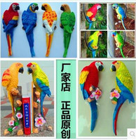 artificial parrots - Simulation of artificial birds parrots creative ornaments resin crafts home decorations and office accessories support mixed batch