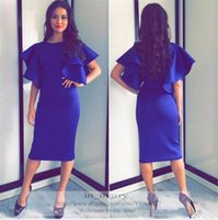 Wholesale Royal Blue Puff Sleeves Short Cocktail Party Dresses Sheath Tea Length Long Formal Evening Party Gowns Arabic African Prom Party Dress