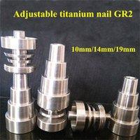 10mm 14mm 19mm Titanio Ajustable uñas conjunto de herramientas Bong Domeless GR2 Titanium Jar Dabber Herramienta Slicone Dab Contenedor
