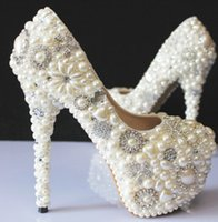 Wholesale Luxurious White Pearls Wedding Shoes For Women High Heel CM Custom Made PU White Party Prom Shoe Bridal Pumps Gowns