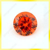 Wholesale Orange color round shape mm cubic zirconia big gemstone with free shipment use for wax setting