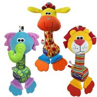 Wholesale Soft Baby Toy cm Cartoon Animal Teether Rattle Squeaker BB Sounder Early Educational Doll