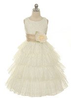 Cheap Real Photo Flower Girls Dresses 2015 Lace Ball Gown With Hand Made Flower Sashes Tiered Ruffles Charming Children Dress For Wedding Event
