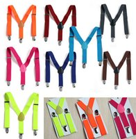 Wholesale 26 Colors New Fashion Black Plain Color Children Kids Adjustable Clip on Y back Suspenders Braces For Boy and Girls For Years