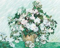 oil paint by numbers - DIY Digital Oil Painting White Rose by Van Gogh Paint By Numbers Kit cmX50cm inchX20inch