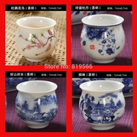 Wholesale 4pcs Quality Chinese Blue And White Ceramic Tea Cup Kungfu Tea Set Drinkware Colors Cups