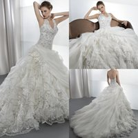Cheap 2015 Junoesque A Line Lace Halter Demetrios Wedding Dresses Layered Chapel Train Lace Up Crystal Bridal Gown