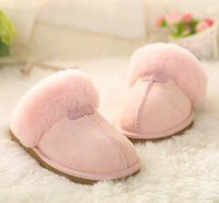 adult snow boots - Factory Outlet Australia Classic Women Men Cow Leather Snow Adult Slippers boots colors pink sand chestnut chocolate black grey