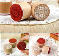 Wholesale 6pcs set Creative wooden circular pattern seal restoring ancient ways Letter seal Lace series DIY manual graffiti seal