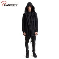 arc jacket - Fall European And American Dark Style Long Length Hooded Man Jackets Asymmetric Inclined Arc Cardigan Hoodie Fashion Men Outerwear