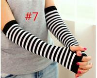 arm warmer fingerless long gloves - 2016 winter Women Cotton gauntlet Woman Striped Long Gloves Woman Knitted Half Finger Gloves Woman Warm Cuff Arm Sleeves colors choose free