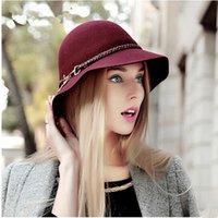 black felt hat - Hot Women Chic Cloches Wool Felt Church Beanie Top Hats Bucket Hat caps Winter Warm Hat
