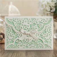 baby shower date - Mint White Flower Wedding Invitation with Envelope Ribbon Laser Cut Baby Shower Invitation Unique Save the Date Party Invitations