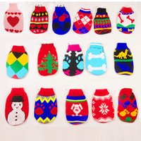 apperal printing - Pet sweaters soft warm cat dog apperal woolen knitted plaid flower printed sweatshirts dog clothes witner colors