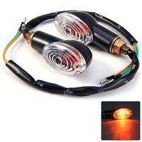 Wholesale 2 pair V Amber Light Cat Eye Universal Motorcycle Turn Signal Indicator Light Bulb