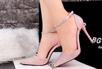Wholesale Korean fashion sweet and fine with high heeled pointed shallow mouth was thin hollow word with diamond rhinestone sandals