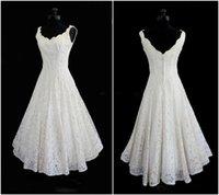Wholesale Plus Size New Simple Scoop Neck A Line Tea length Short Beach Lace Wedding Dress Elegant Bridal Gowns Cheap Price
