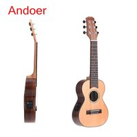 Wholesale Andoer quot Guitalele Guitarlele Guilele Travel Guitar Solid Cedar Rosewood Fretboard Bridge Stringed Instrument with Gig Box I675