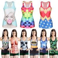 women tank top - hot sell Women Multi Color Gothic Punk Clubwear T Shirt Print Tank Top Vest Blouse DHL