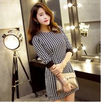 houndstooth dress - 2015 new dress Spot new autumn and winter classic Houndstooth Dress PY NewK