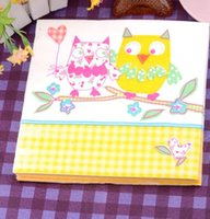 Wholesale 330MMX330Mm tissue paper napkin paper printing handkerchiefs for wedding cafe tissues Decorative cute couple owl