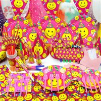 Cheap Lovely 6 persons cartoon smile face Baby Birthday party Decoration Set kids Birthday tableware Gift bag Blowout Decorations Pack supplies