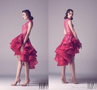 Wholesale Chic Fadwa Baalbaki Red Lace Short Asymmetrical Prom Dresses High Neck Cascading Ruffles Hi Lo Evening Gowns Formal Dress Custom FY842