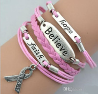 Cheap Charm Bracelets Believe Faith Hope Bracelet Best South American Women's Cancer Awareness Bracelet