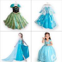 Cheap Chrismas gift Girl Summer Frozen Anna Coronation Dresses Party Princess Elsa Dress Vestidos De Menina Costume Cosplay Fantasia free shipping